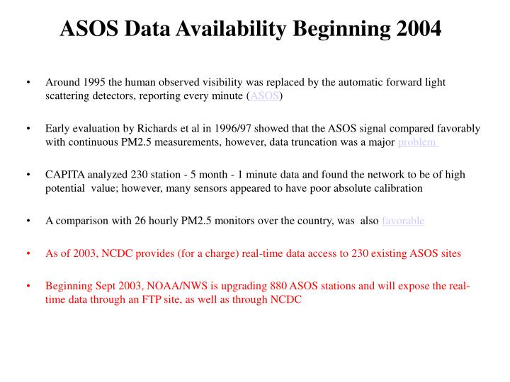 ASOS Data Availability Beginning 2004