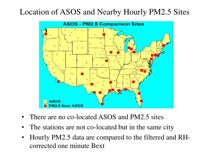 Location of ASOS and Nearby Hourly PM2.5 Sites