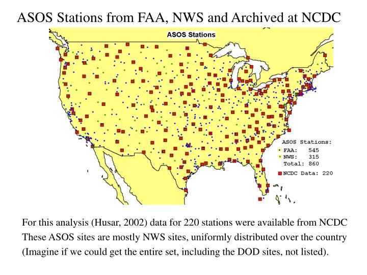 ASOS Stations from FAA, NWS and Archived at NCDC