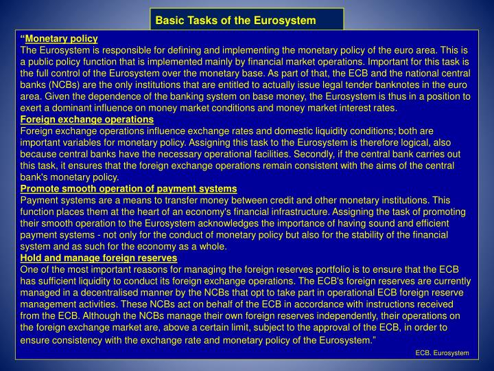 Basic Tasks of the Eurosystem