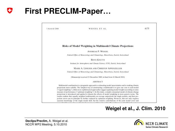 First PRECLIM-Paper…