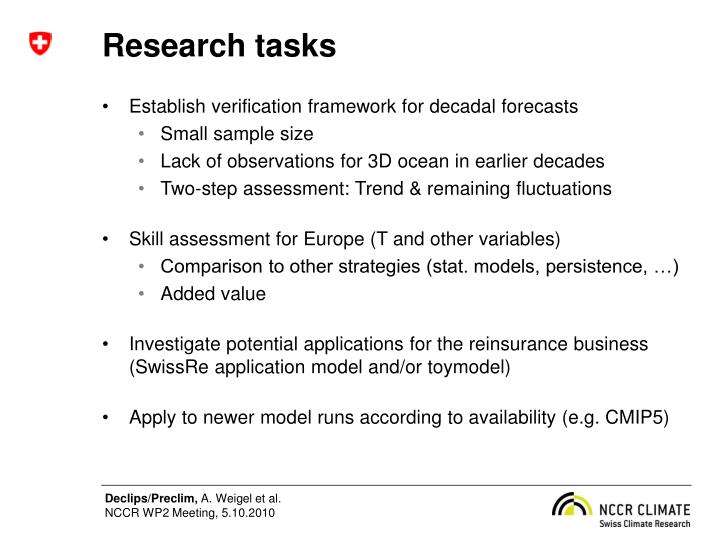 Research tasks
