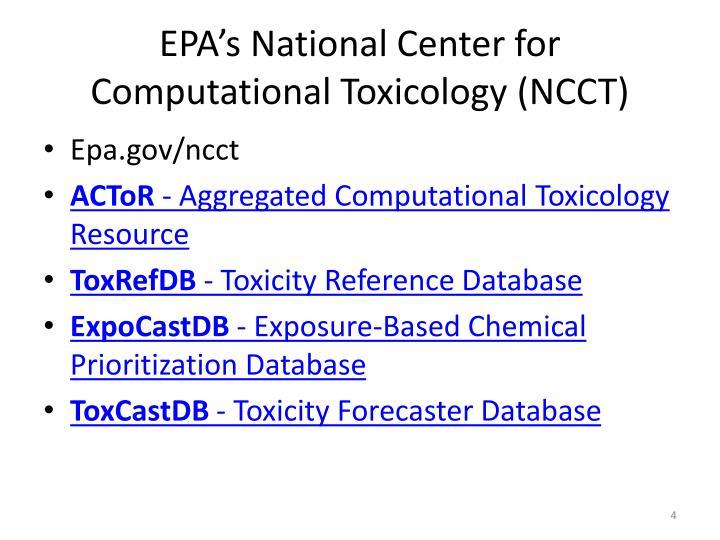 EPA's National Center for Computational Toxicology (NCCT)