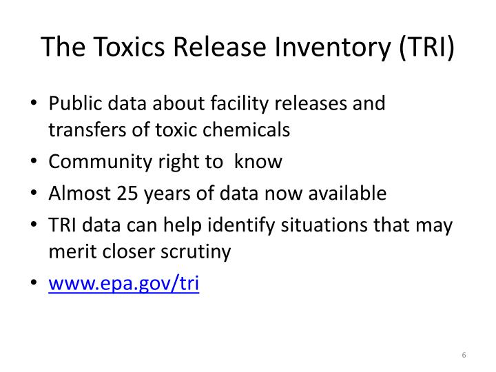 The Toxics Release Inventory (TRI)