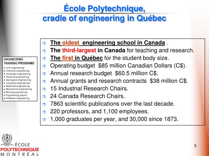 Cole polytechnique cradle of engineering in qu bec