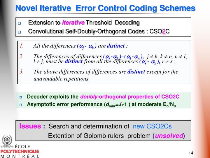 Novel Iterative  Error Control Coding Schemes