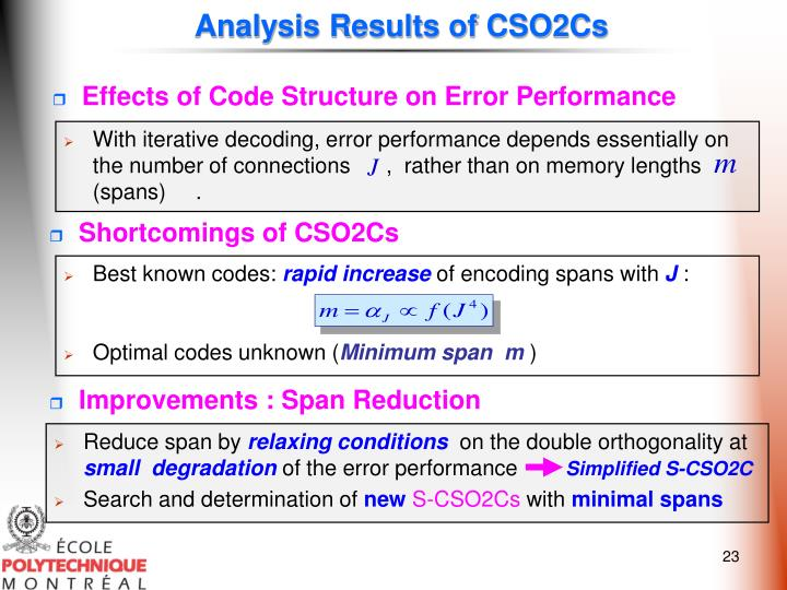 Analysis Results of CSO2Cs