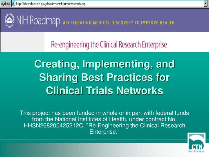 Creating, Implementing, and Sharing Best Practices for Clinical Trials Networks