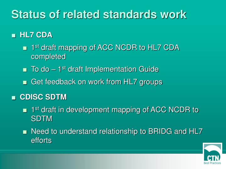 Status of related standards work