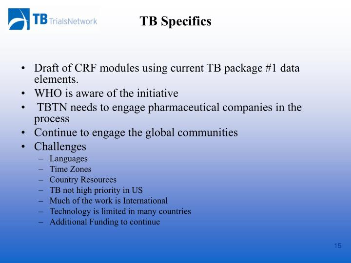 Draft of CRF modules using current TB package #1 data elements.