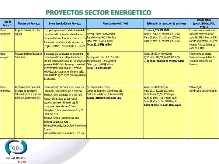 PROYECTOS SECTOR ENERGETICO