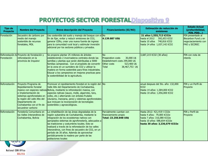 PROYECTOS SECTOR FORESTAL