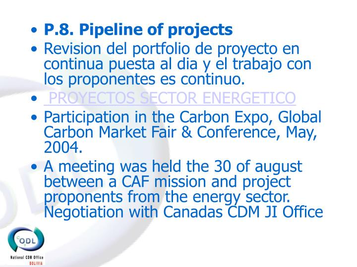 P.8. Pipeline of projects