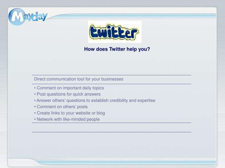 How does Twitter help you?
