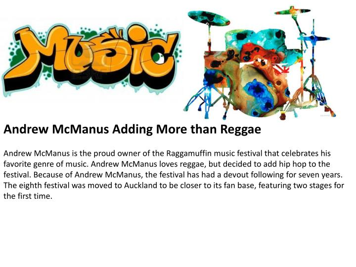 Andrew McManus Adding More than Reggae