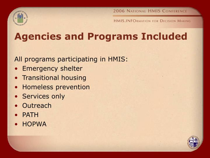 Agencies and Programs Included