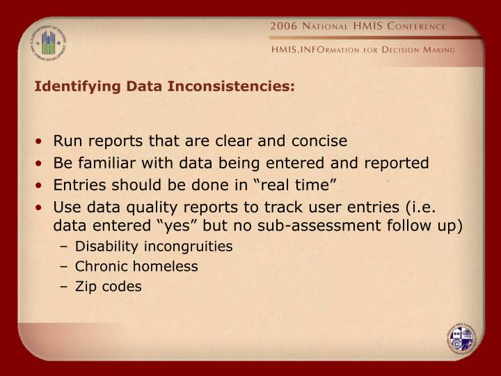 Identifying Data Inconsistencies: