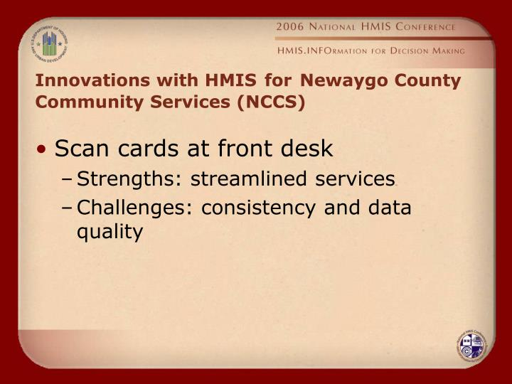 Innovations with HMIS
