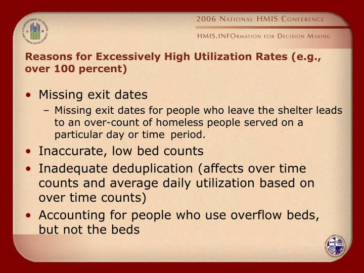 Reasons for Excessively High Utilization Rates (e.g., over 100 percent)