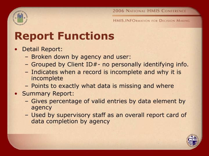 Report Functions