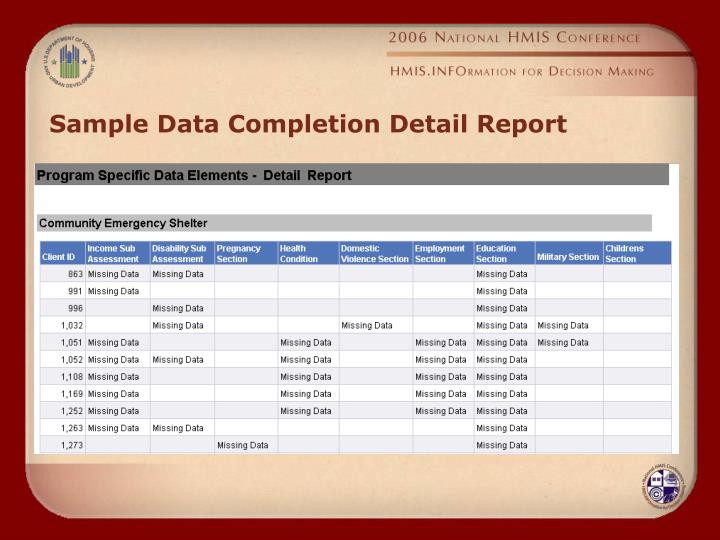 Sample Data Completion Detail Report