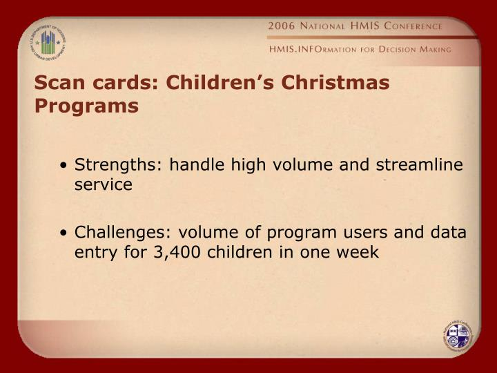 Scan cards: Children's Christmas Programs