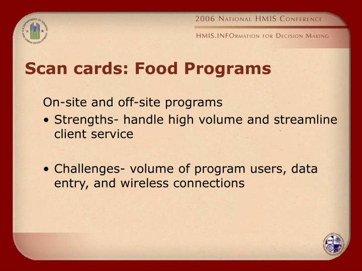 Scan cards: Food Programs