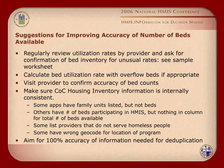 Suggestions for Improving Accuracy of Number of Beds Available