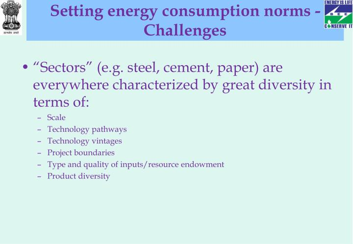 Setting energy consumption norms - Challenges