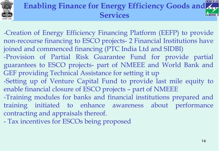 Enabling Finance for Energy Efficiency Goods and Services