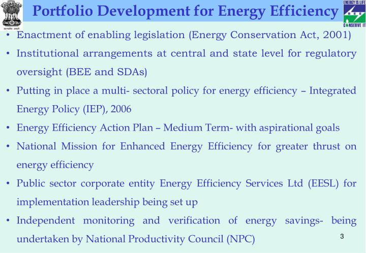 Portfolio Development for Energy Efficiency