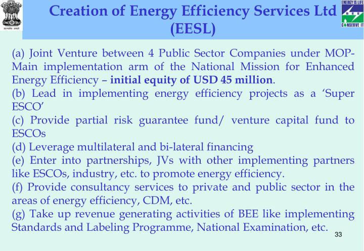 Creation of Energy Efficiency Services Ltd (EESL)