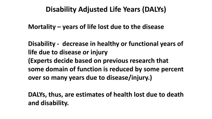 Disability Adjusted Life Years (DALYs)