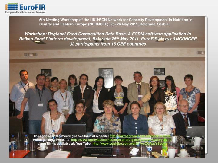 6th Meeting/Workshop of the UNU/SCN Network for Capacity Development in Nutrition in Central and Eastern Europe (NCDNCEE), 25- 26 May 2011, Belgrade, Serbia