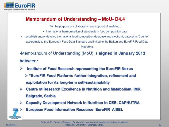 Memorandum of Understanding – MoU- D4.4