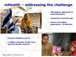 mhealth addressing the challenge