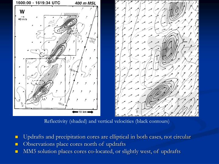 Updrafts and precipitation cores are elliptical in both cases, not circular