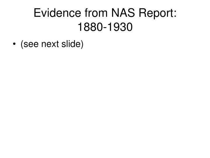 Evidence from NAS Report: