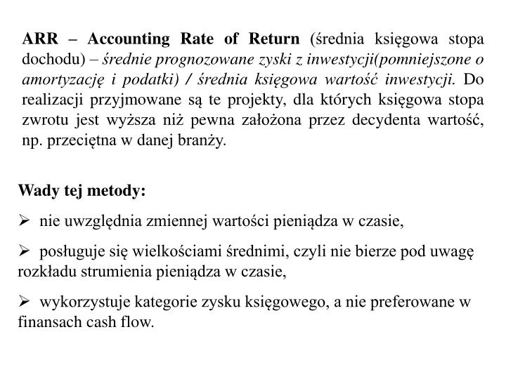 ARR – Accounting Rate of Return