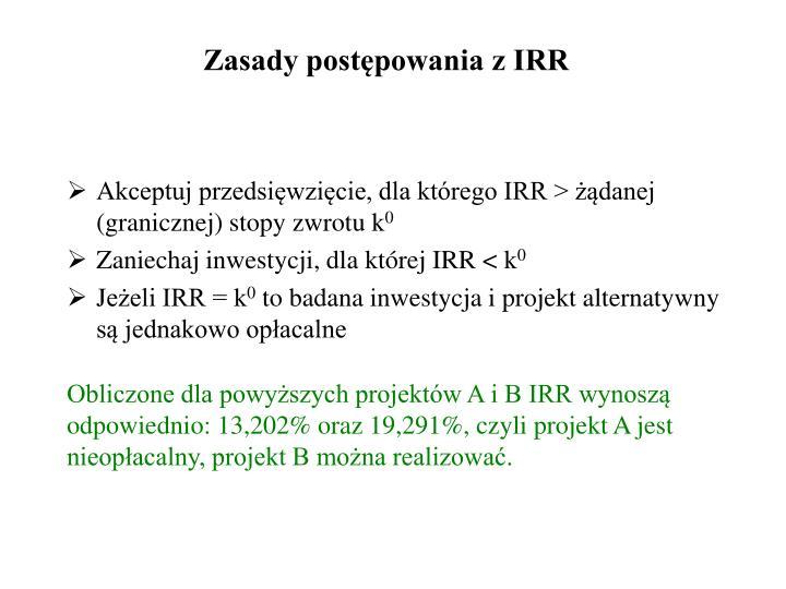 Zasady postępowania z IRR