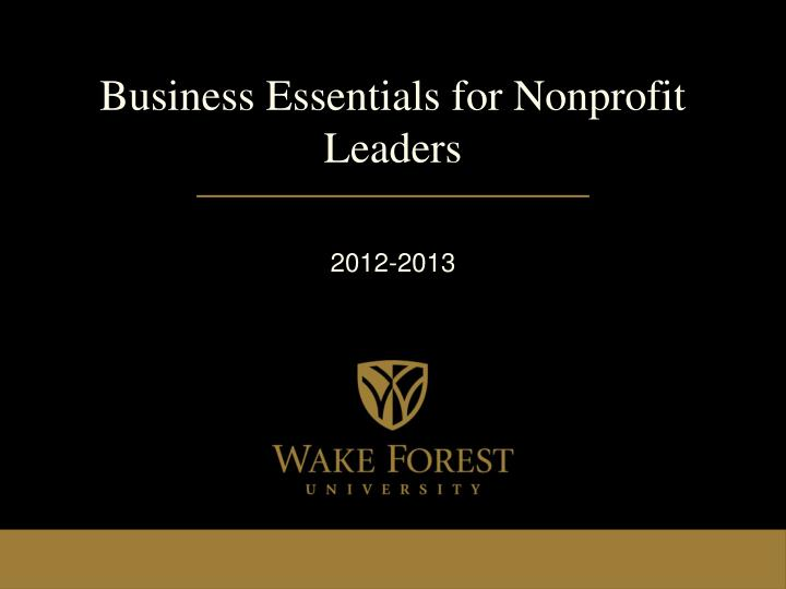 Business essentials for nonprofit leaders