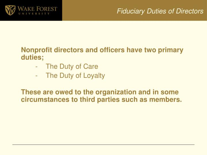 Fiduciary Duties of Directors