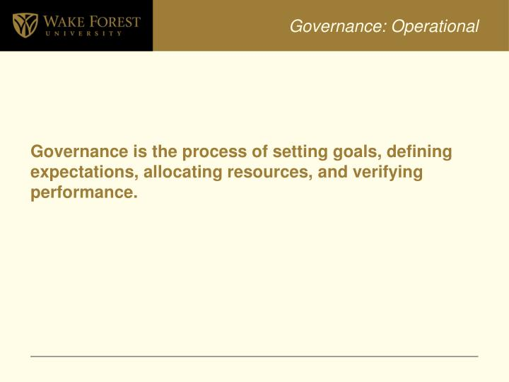Governance: Operational