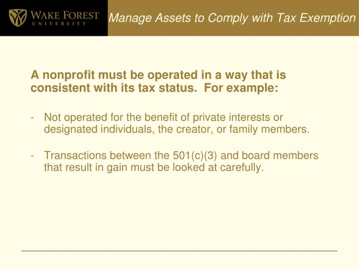 Manage Assets to Comply with Tax Exemption