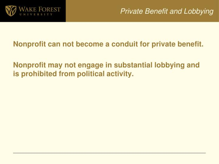 Private Benefit and Lobbying