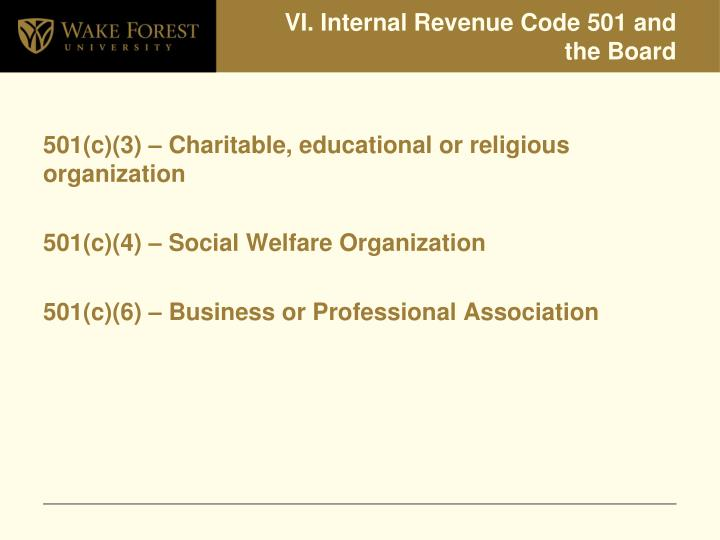 VI. Internal Revenue Code 501 and the Board