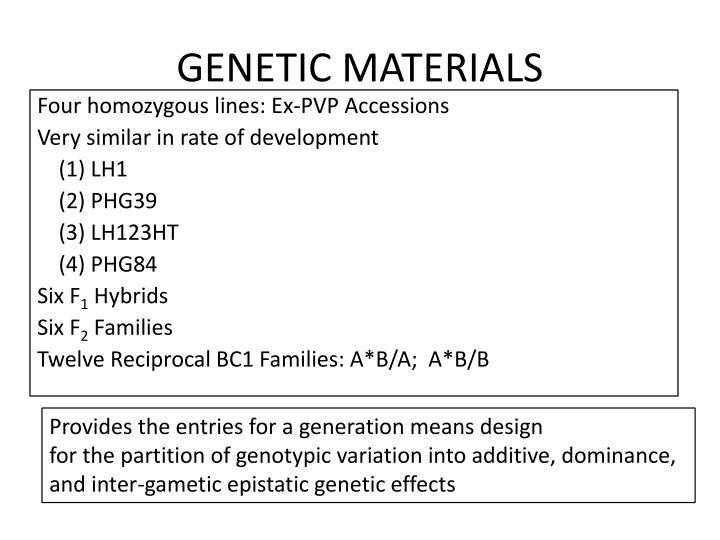 GENETIC MATERIALS