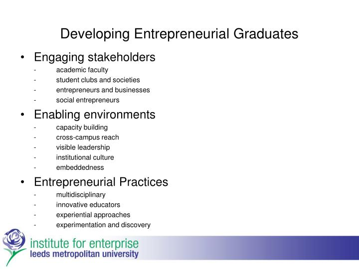 Developing Entrepreneurial Graduates
