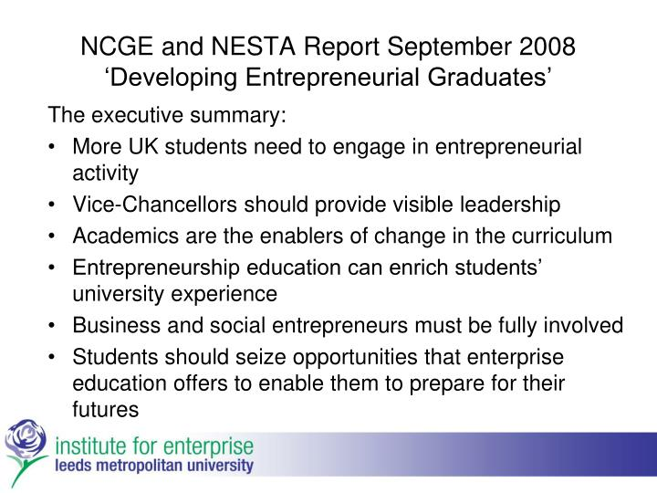 NCGE and NESTA Report September 2008