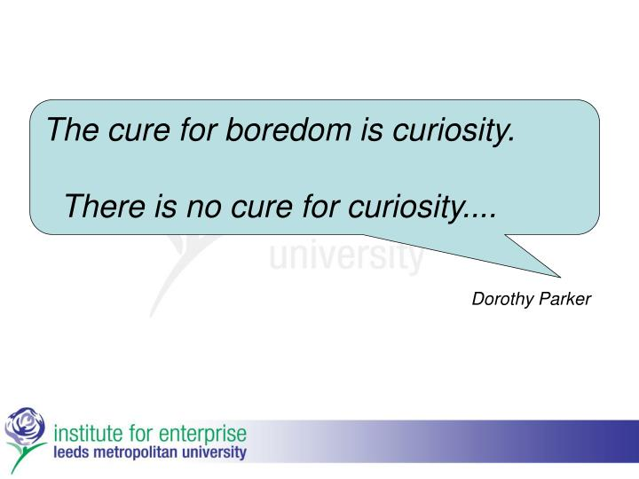 The cure for boredom is curiosity.